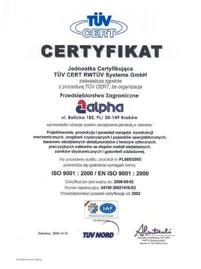 Certyfikat dla systemu zarządzania wg ISO 9001:2000 dla firmy ALPHA TECHNOLOGY
