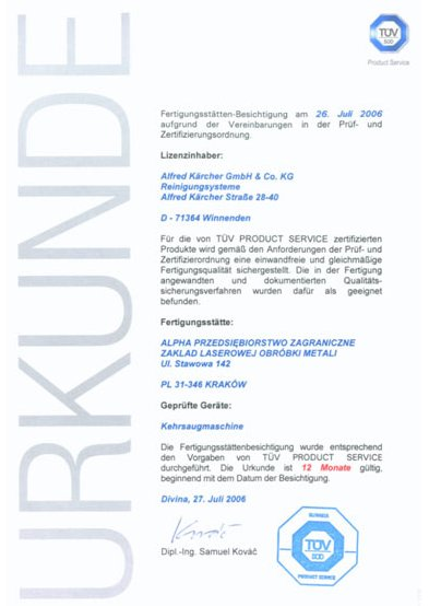 Certyfikat TÜV SÜD dla firmy ALPHA TECHNOLOGY