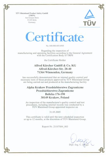 Certyfikat TÜV Rheinland Product Safety GmbH dla firmy ALPHA TECHNOLOGY