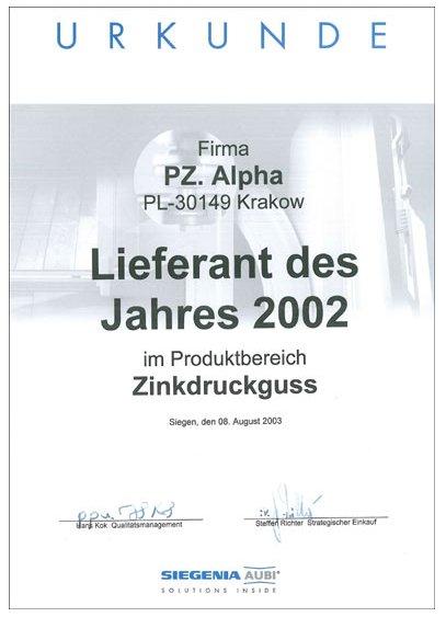Nagroda: Dostawca roku 2002 firmy SIEGENIA-AUBI dla firmy ALPHA TECHNOLOGY