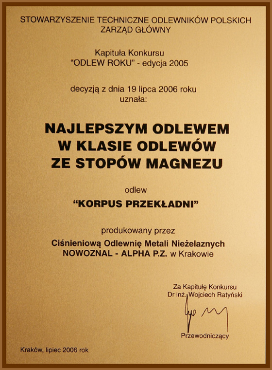 Nagroda: Najlepszy odlew w klasie odlewów magnezowych dla firmy ALPHA TECHNOLOGY