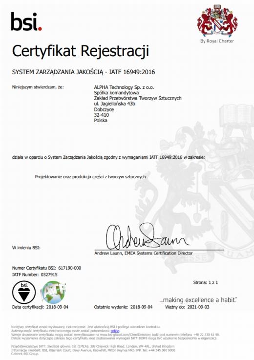 System Zarządzania Jakością IATF 16949:2016 ALPHA TECHNOLOGY