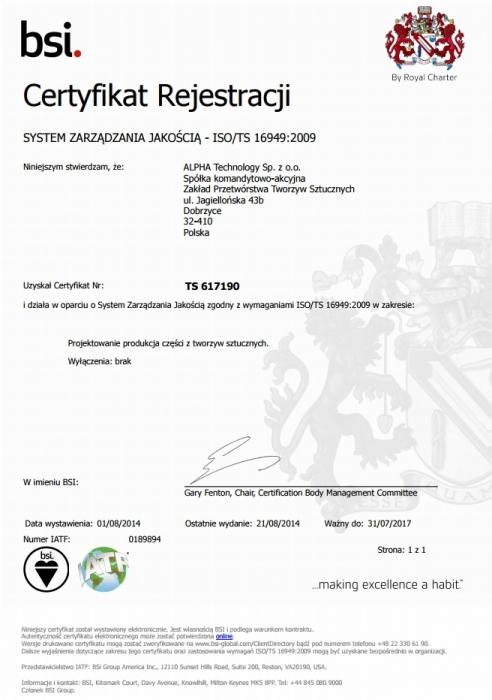 Certyfikat dla systemu zarządzania wg ISO/TS 16949:2002 ALPHA TECHNOLOGY