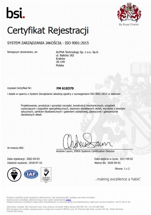 System Zarządzania Jakością ISO 9001:2008 ALPHA TECHNOLOGY