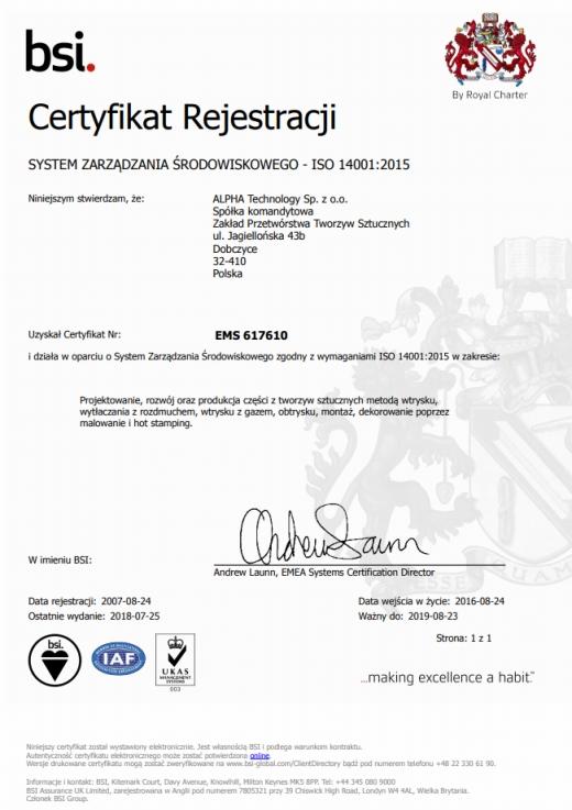 Certyfikat  ISO 14001:2004 ALPHA TECHNOLOGY