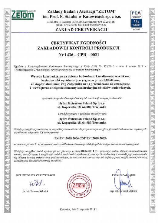 Certyfikat Zakładowej Kontroli Produkcji Trzcianka EN 15088