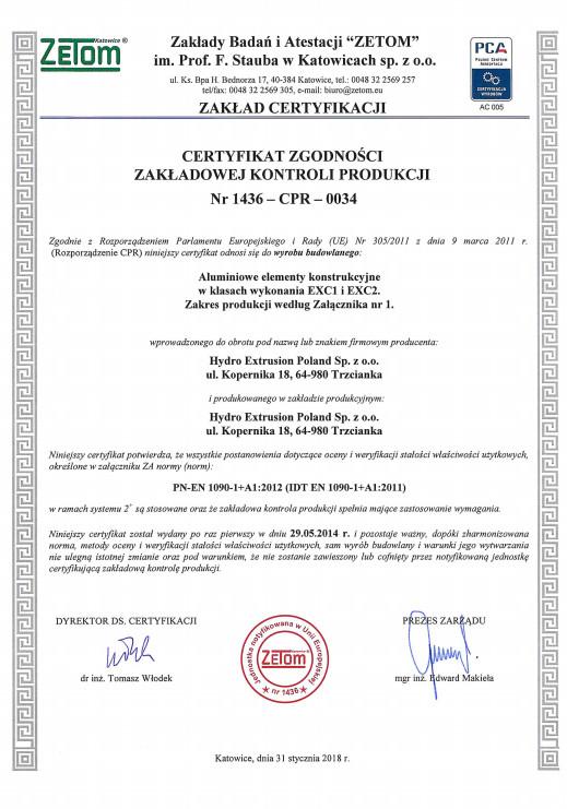 Certyfikat Zakładowej Kontroli Produkcji EN 1090-1