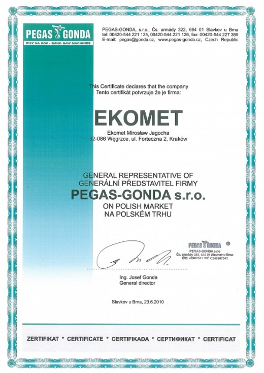 EKOMET - Generalny Przedstawiciel PEGAS GONDA s.r.o.