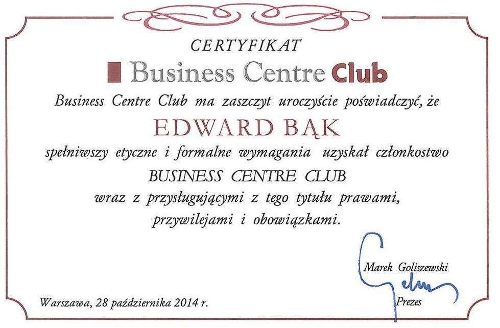 Certyfikat Business Centre Club - Edward Bąk