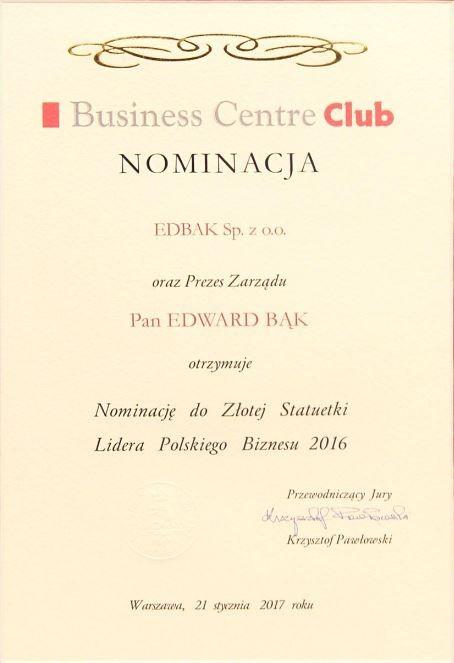 Nominacja do Złotej Statuetki Lidera Polskiego Biznesu 2016