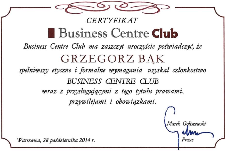 Certyfikat Business Centre Club - Grzegorz Bąk