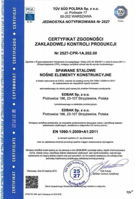 Certyfikat Zgodności Zakładowej Kontroli produkcji Nr 2527-CPR-1A.202.00