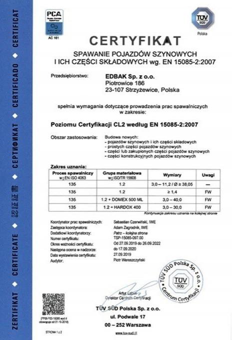Certyfikat EN 15085-2:2007