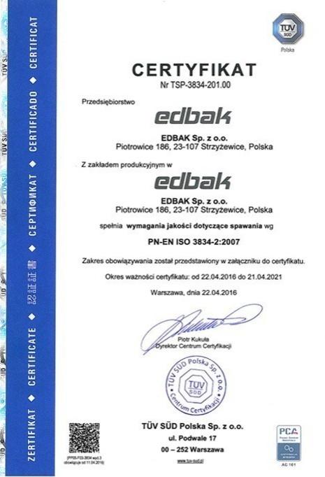 Certyfikat PN-EN ISO 3834-2:2007