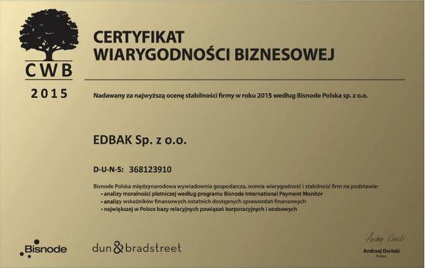 Certyfikat Wiarygodności Biznesowej  2015