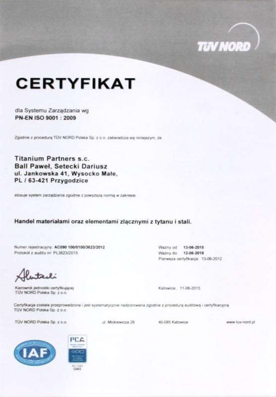 Certyfikat PN-EN ISO 9001:2009 firmy Titanium Partners S.C.