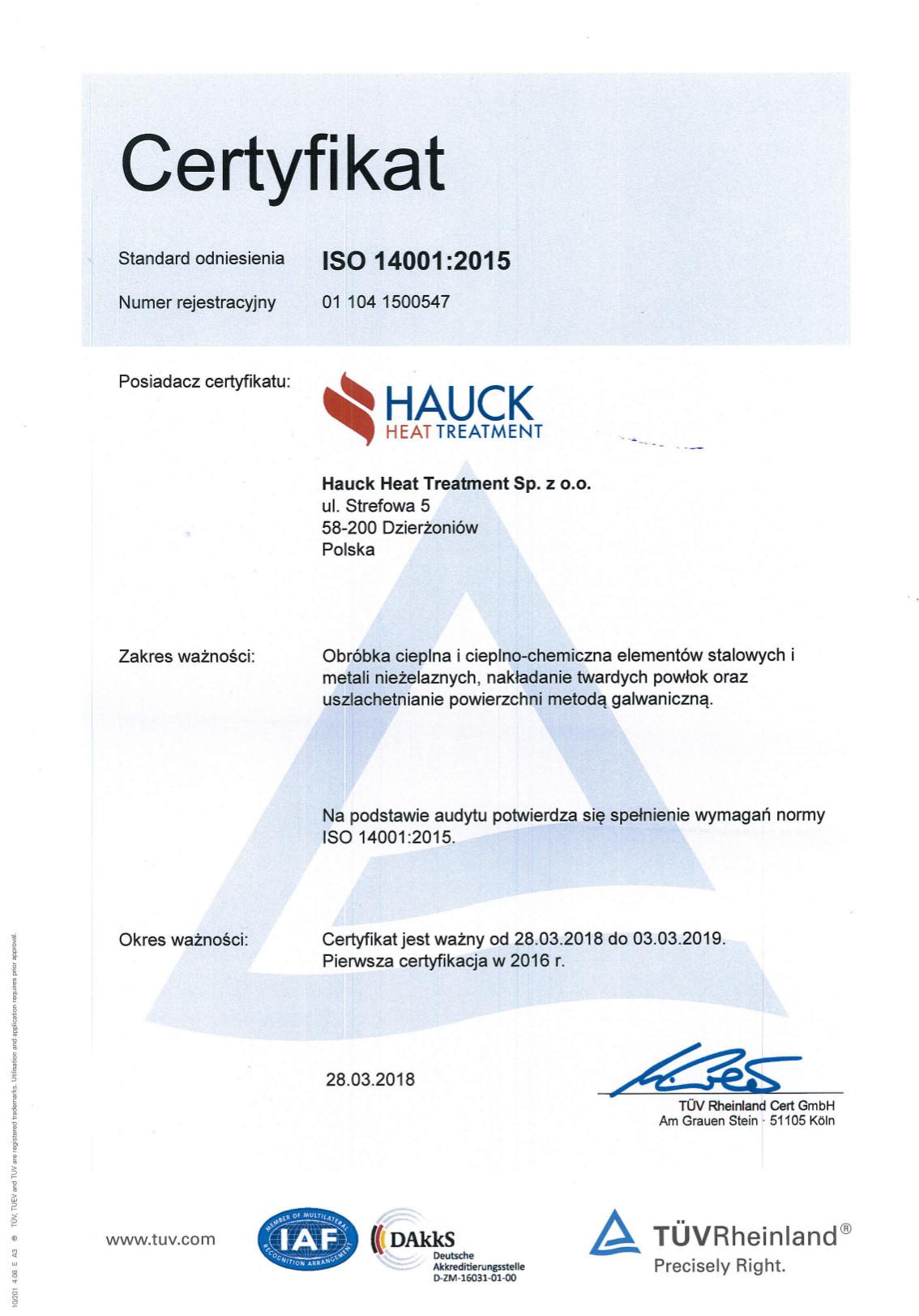 Certyfikat ISO 14001:2004 HAUCK HEAT TREATMENT SP.Z.O.O.
