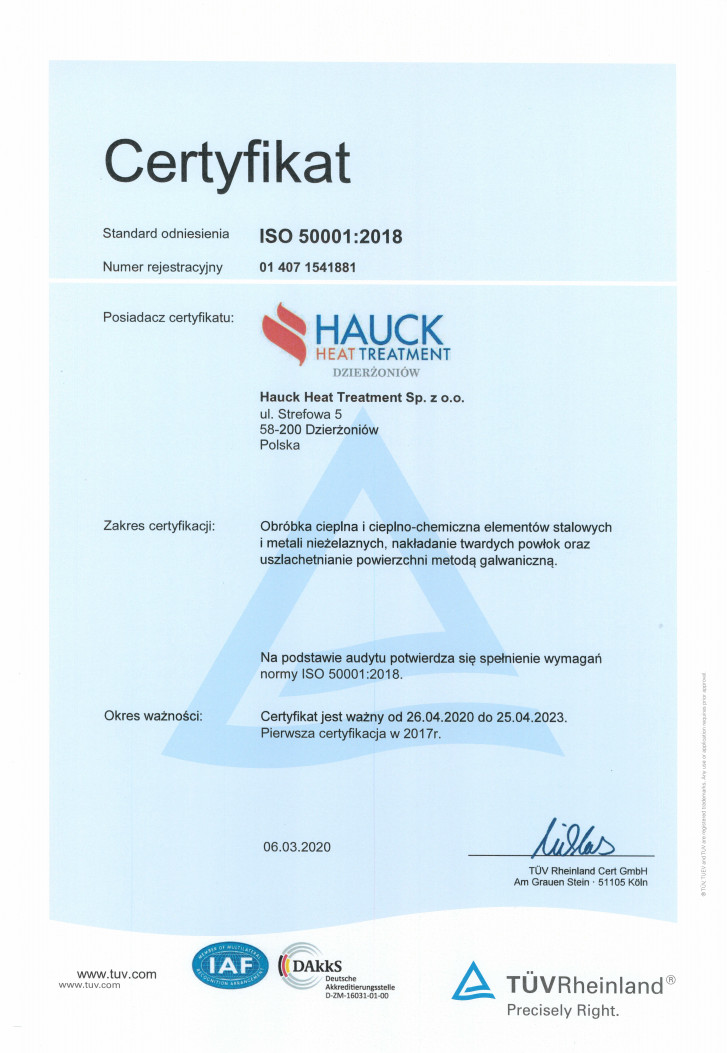 Certyfikat ISO 50001:2018