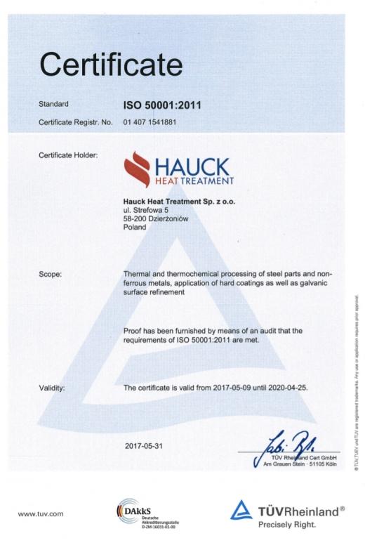 Certyfikat ISO 50001:2011 HAUCK HEAT TREATMENT SP.Z.O.O.