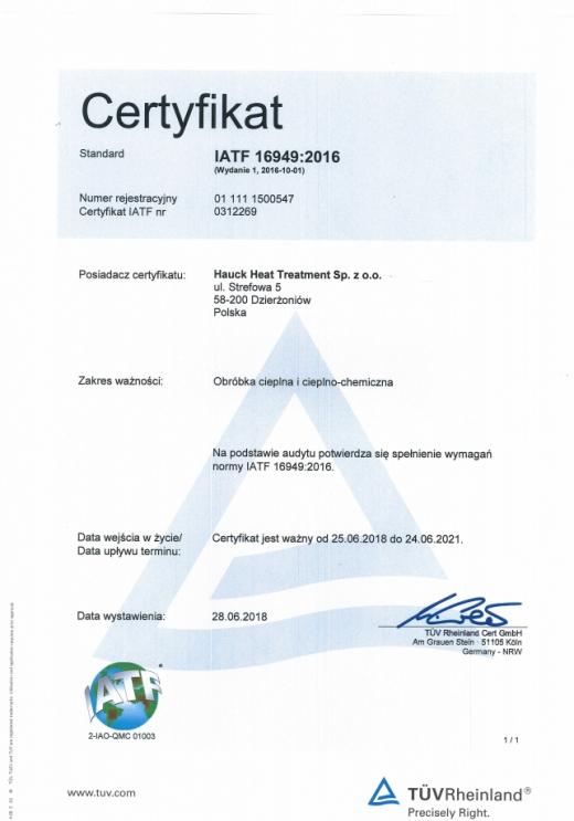 Certyfikat IARF 16949:2016