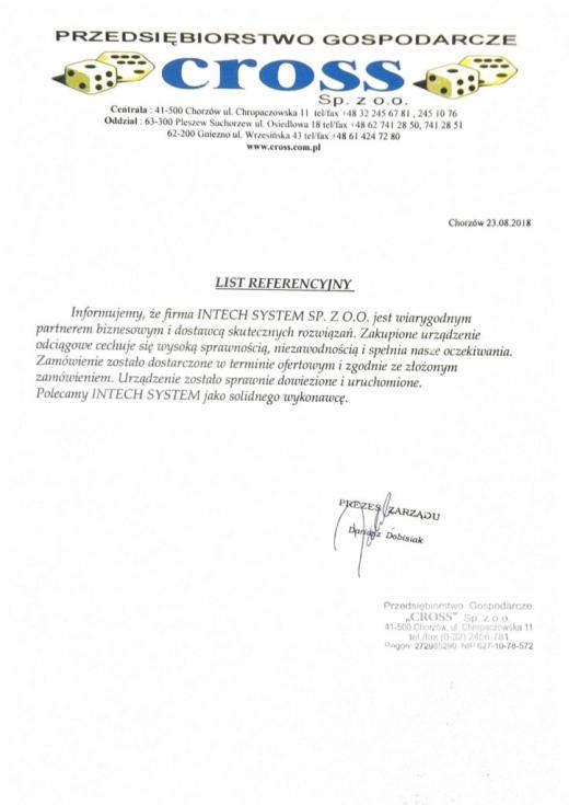 Referencje CROSS Sp. z o.o. dla Intech JMS