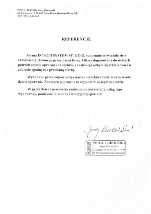 Referencje P.P.H.U. JURSTOL Jerzy Kuczewski dla Intech JMS