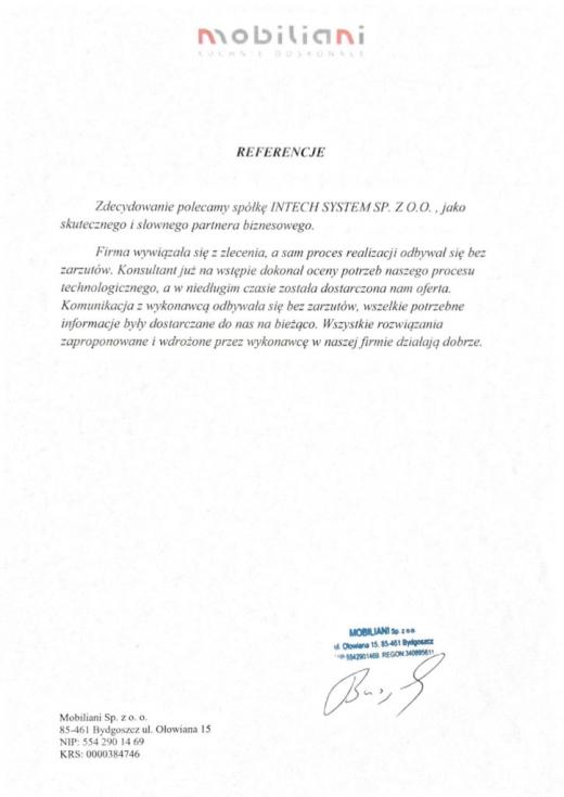 Referencje MOBILIANI Intech JMS