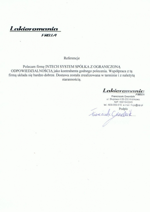 Referencje Lakieromania FROJA dla Intech JMS