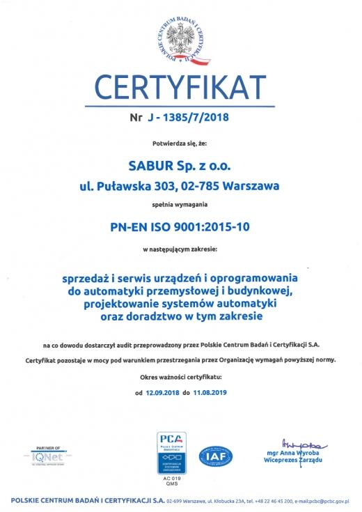Certyfikat PN-EN ISO 9001:2015-10 firmy Sabur