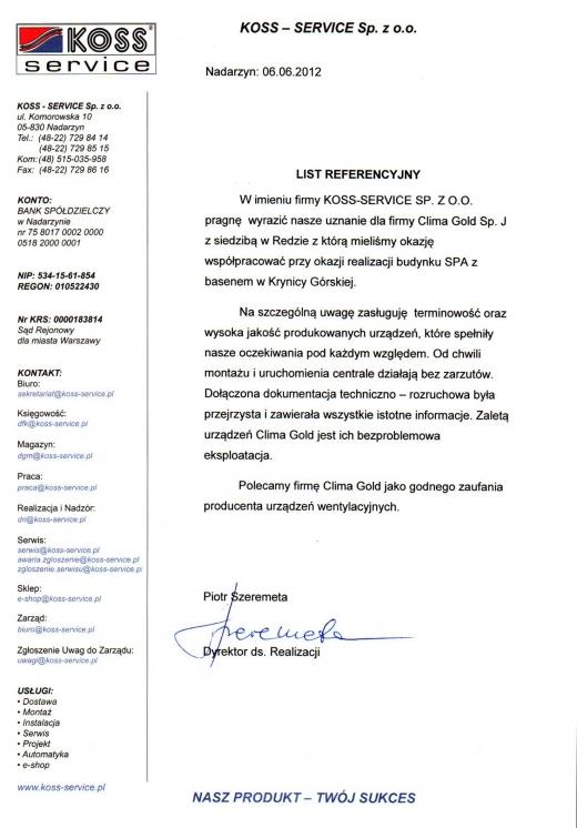 List Referencyjny - KOSS - SERVICE