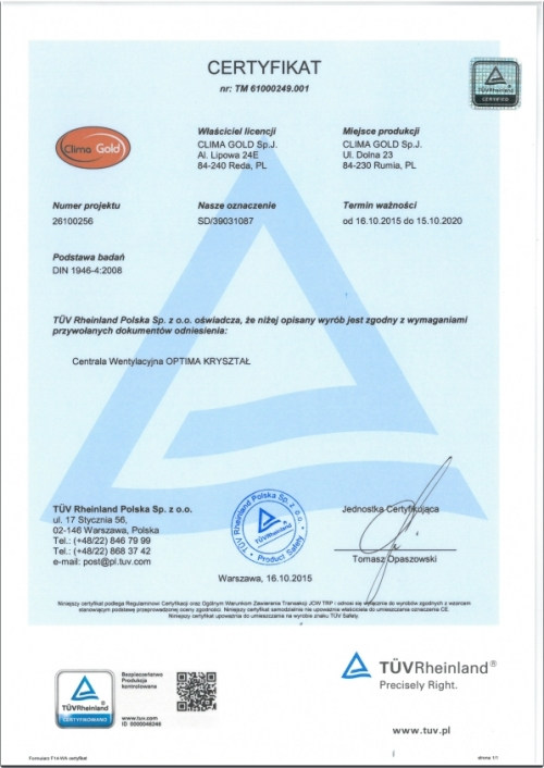 Certyfikat TÜV Rheinland DIN 1946-4:2008
