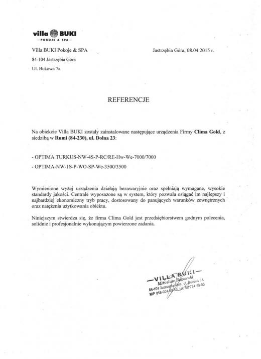 Referencje - Villa BUKI