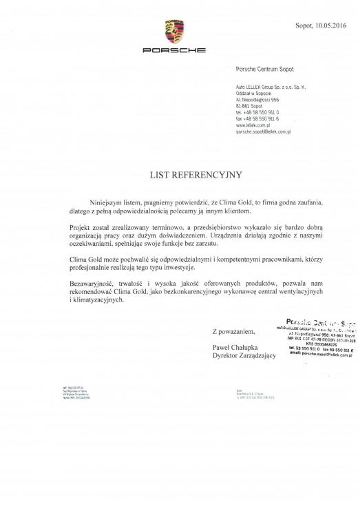 List Referencyjny - PORSCHE
