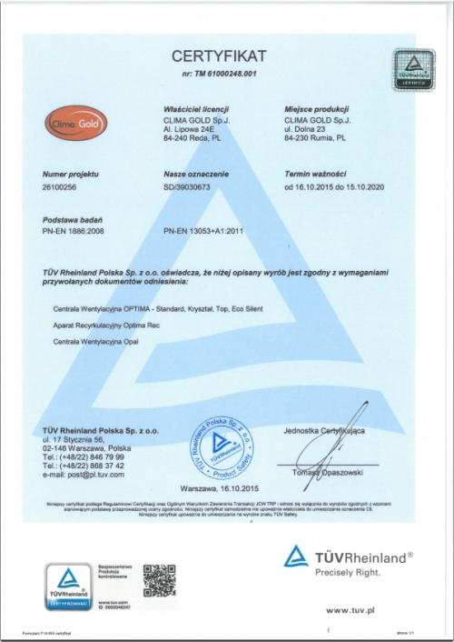Certyfikat TÜV Rheinland PN-EN 1886:2008; PN-EN 13053+A1:2011
