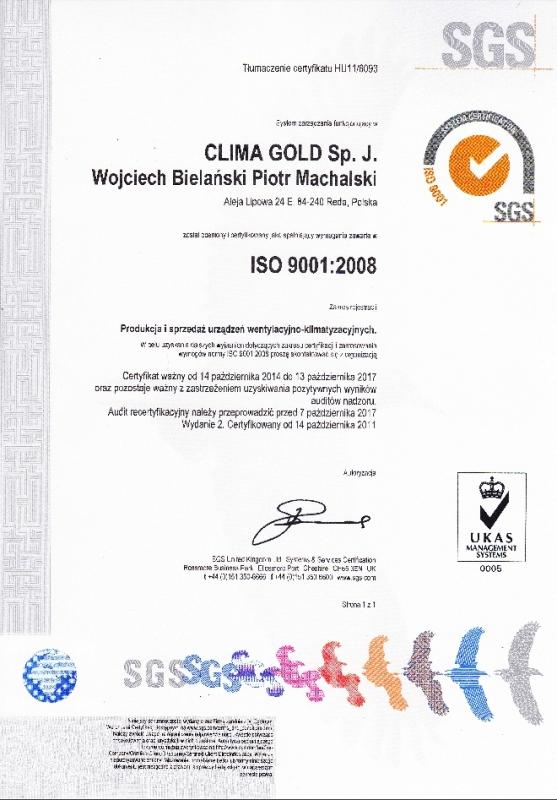 Certyfikat ISO 9001:2008 Clima Gold