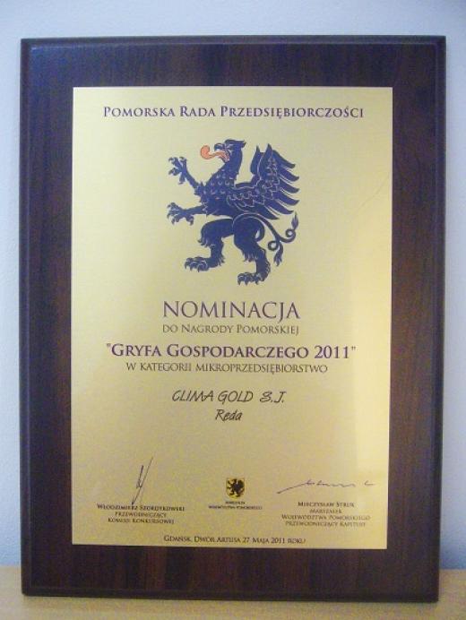 Nominacja do Nagrody Pomorskiej Gryfa Gospodarczego 2011