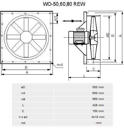 Wentylator do suszarni WO-50 REW, Zawex