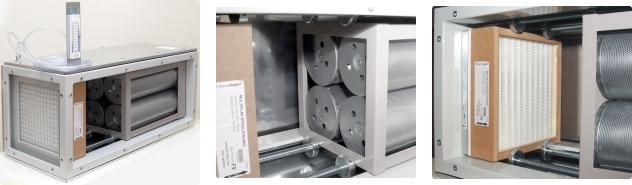 Filtropochłaniacz 400m3/h, widok na filtry węglowe, widok na filtry wstępneG4/F7