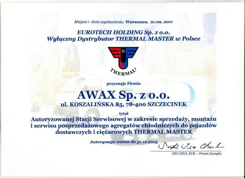 Autoryzacja EUROTECH HOLDING dla firmy Awax