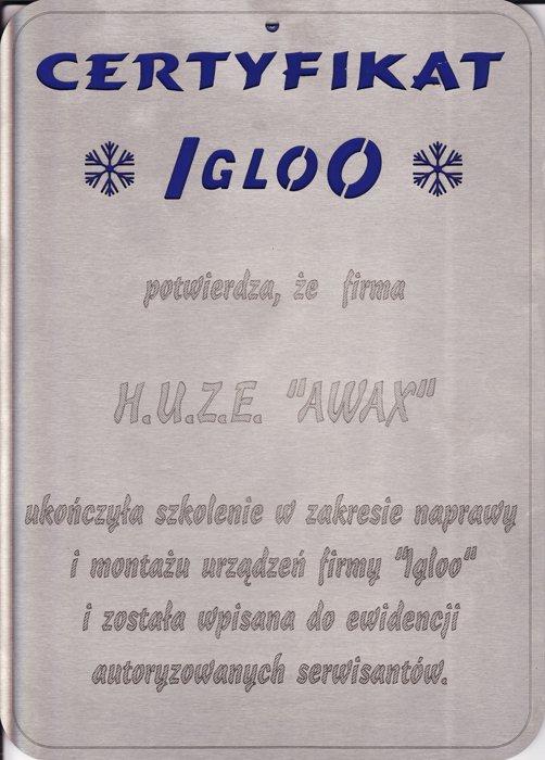 Certyfikat IGLOO dla firmy Awax