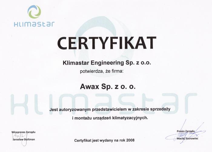 Certyfikat Klimastar Engineering dla firmy Awax