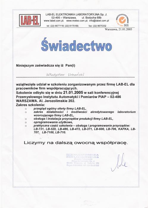 Świadectwo udziału w szkoleniu LAB-EL ELEKTRONIKA LABORATORYJNA, Awax