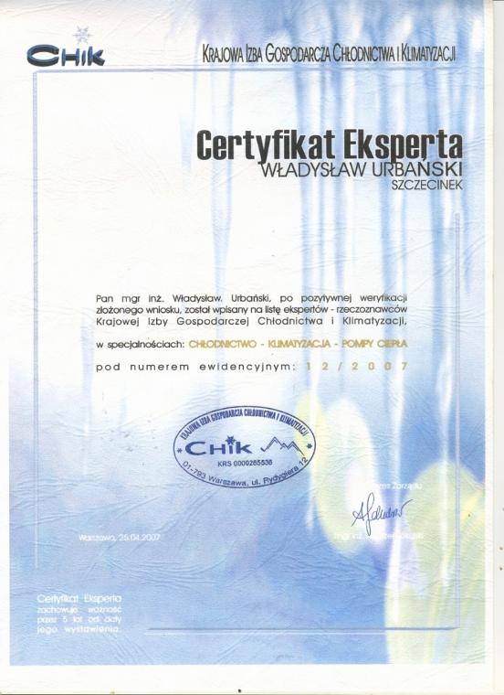Certyfikat Eksperta - Krajowa Izba Gospodarcza Chłodnictwa i Klimatyzacji, Awax