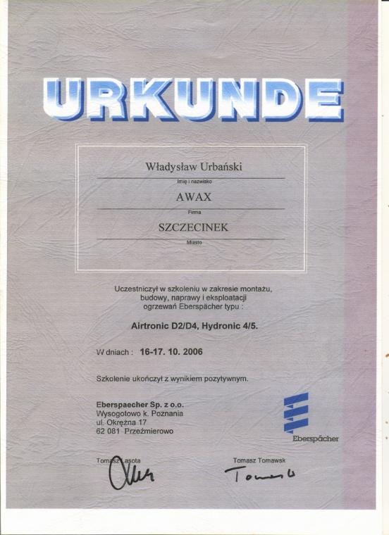 URKUNDE - Potwierdzenie uczestnictwa w szkoleniu, Awax