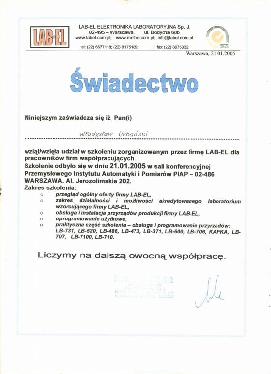 Świadectwo udziału w szkoleniu LAB-EL ELEKTRONIKA LABORATORYJNA dla firmy Awax