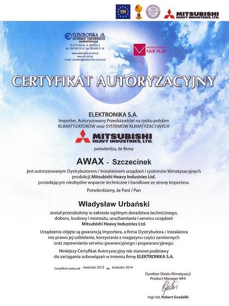 Certyfikat Autoryzacyjny ELEKTRONIKA dla firmy Awax