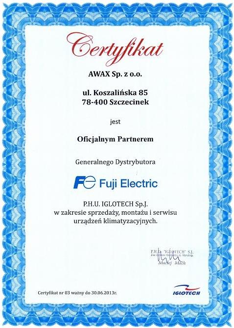 Certyfikat IGLOTECH dla firmy Awax