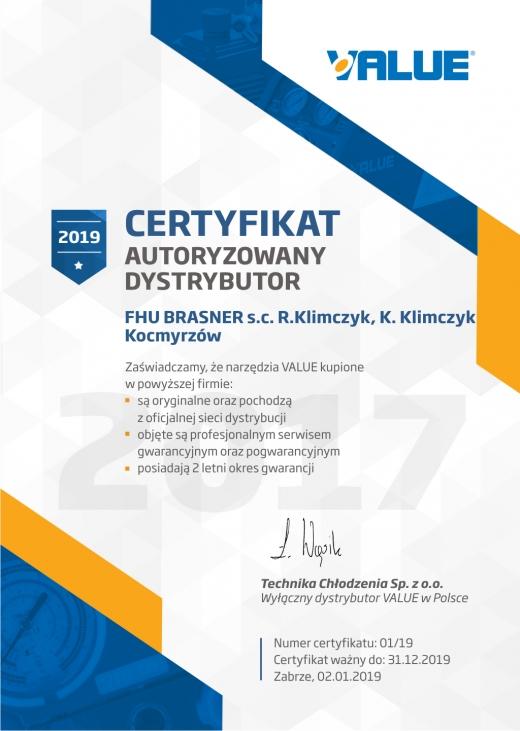 Certyfikat: Autoryzowany dystrybutor VALUE