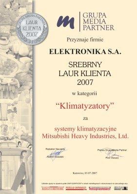 Laur Konsumenta 2007, ELEKTRONIKA SA Technika chłodnicza Klimatyzacja