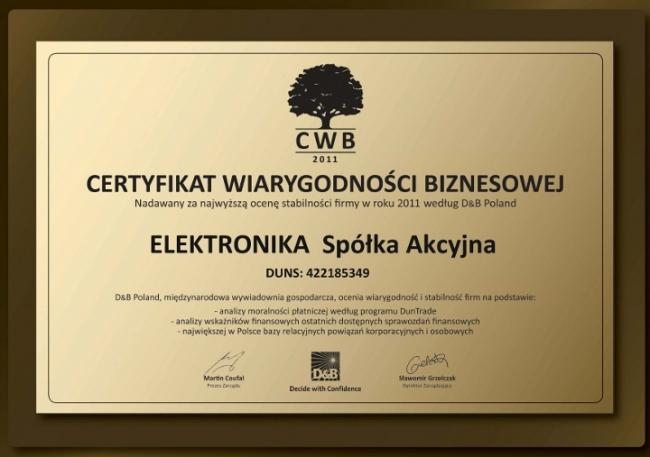 Certyfikat Wiarygodności Biznesowej 2011, ELEKTRONIKA SA Technika chłodnicza Klimatyzacja